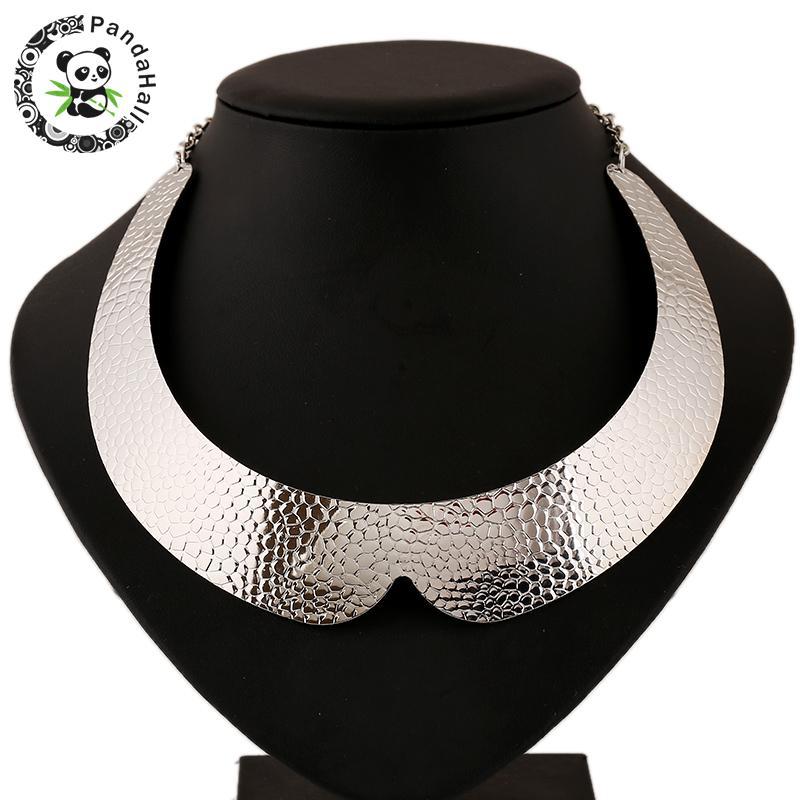 Silver Tone Iron Collar Choker Special Design Punk Rock Short Necklaces Torques, 110mm; 24mm