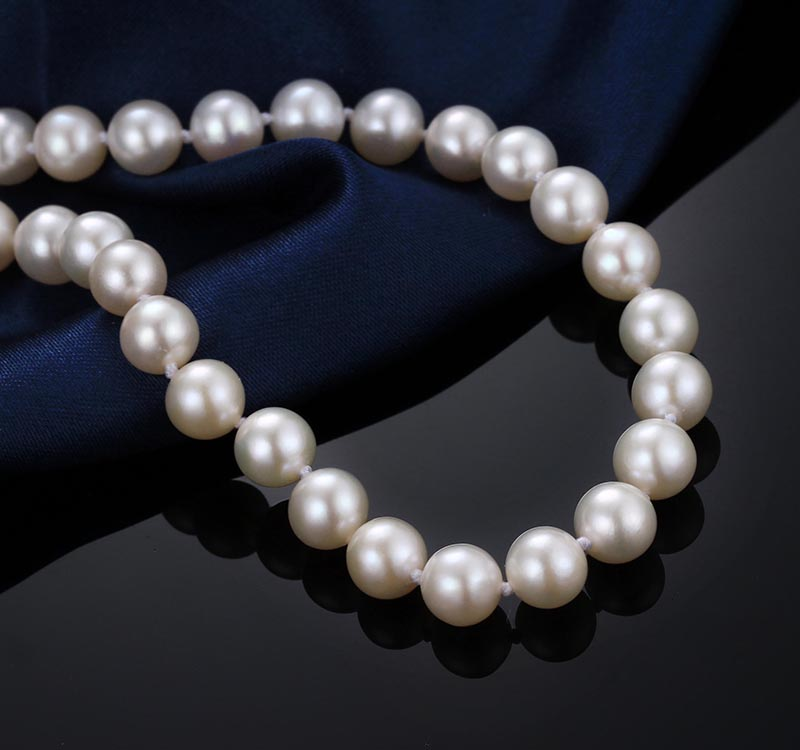 Elegant Women Top Pearl Necklace, AAAA 7-8mm white high luster perfect round 45cm freshwater pearl necklace with 925 silver