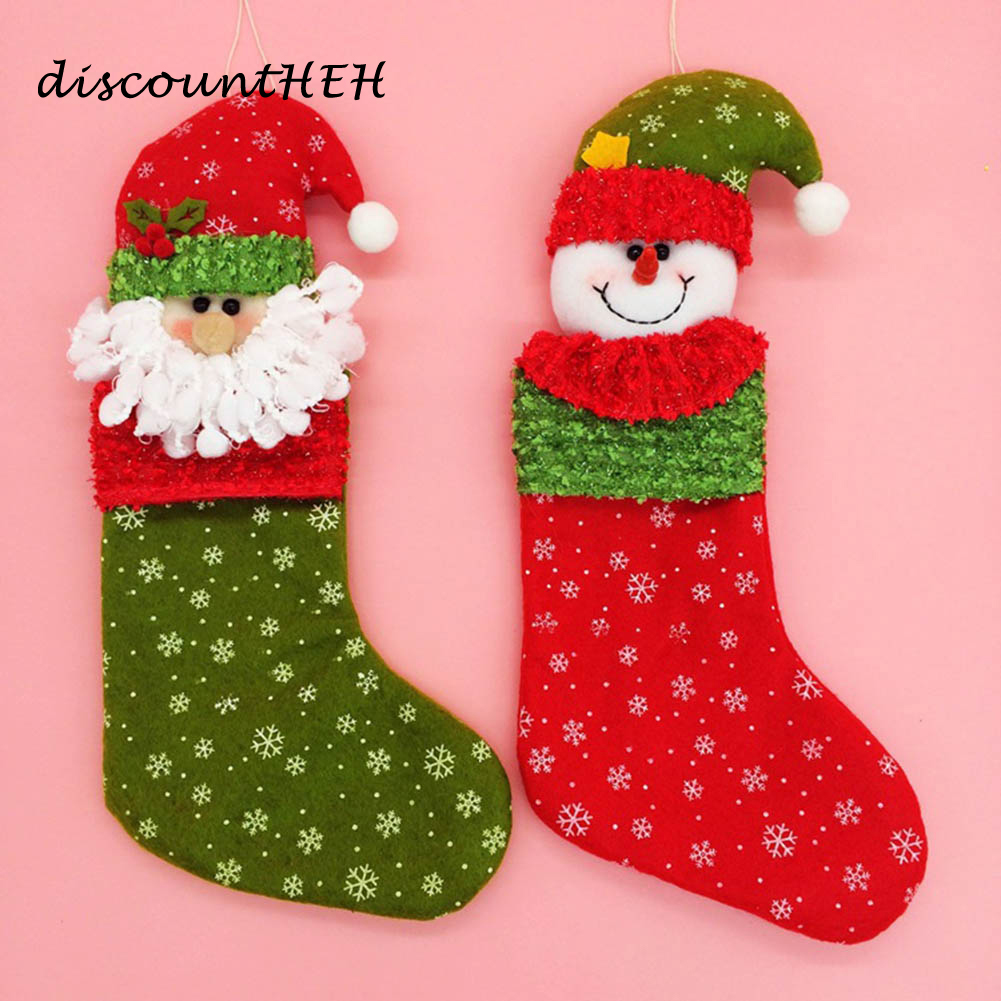 1 PC Handmade Christmas Tree Pendant Socks With Hats Decoration Stuffed Plush Sacks Candy Gifts Bags