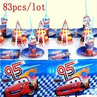 Lightning McQueen Автомобильная тематическая конструкция 83 шт/партия одноразовые наборы посуды девушки день рождения украшения для семьи вечерние...
