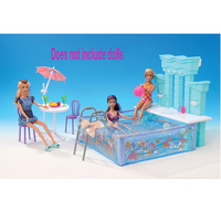 For Barbie Doll Furniture Accessories Toy Summer swimming Pool Wall Water Spray Garden Afternoon Tea Pretend Holiday Gift Girl
