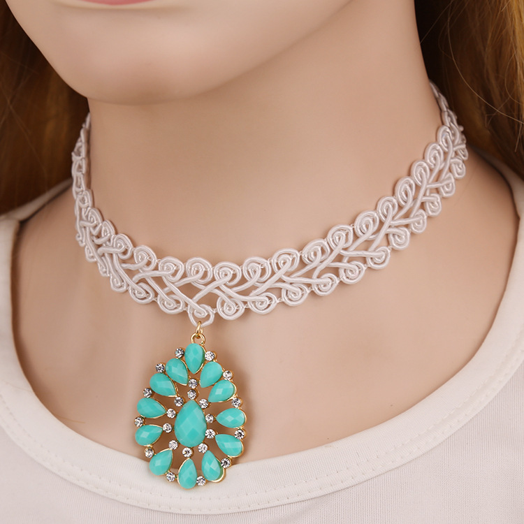 2015 fashion new korean style lace white tassel tattoo choker 2015 fashion new korean style lace white tassel tattoo choker necklace water drop blue stone pendant necklaces wedding jewelry in choker necklaces from aloadofball Image collections