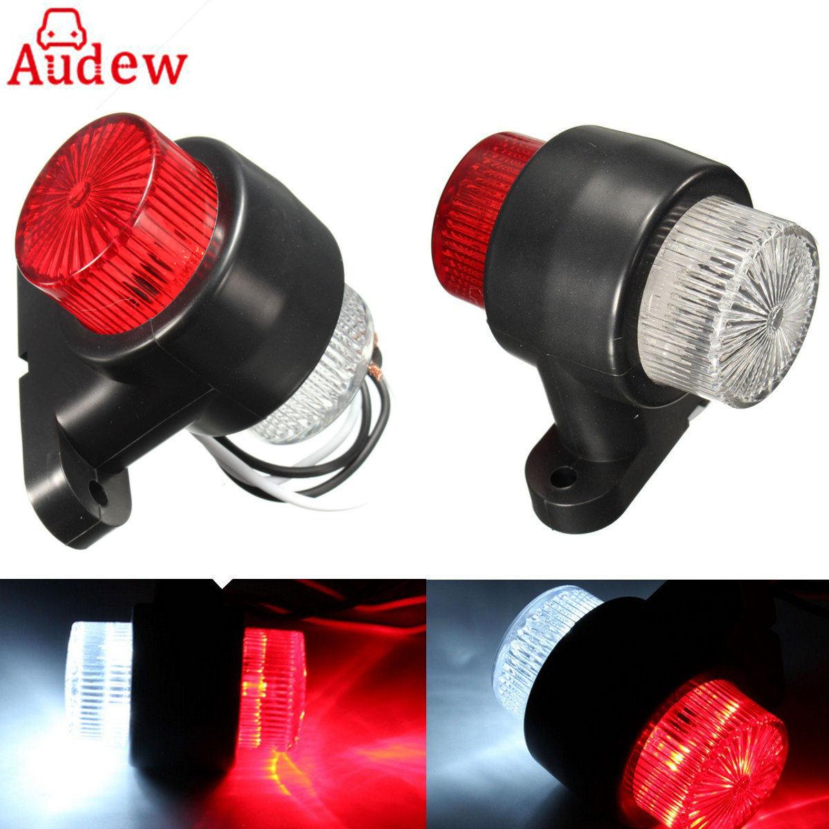 2Pcs 10~30V 8 LEDs Red & White Double Sides Marker Trailer Lights Warning Lamp for Car Truck Vhicles Tail Led Light 2pcs truck light 4 leds lamp
