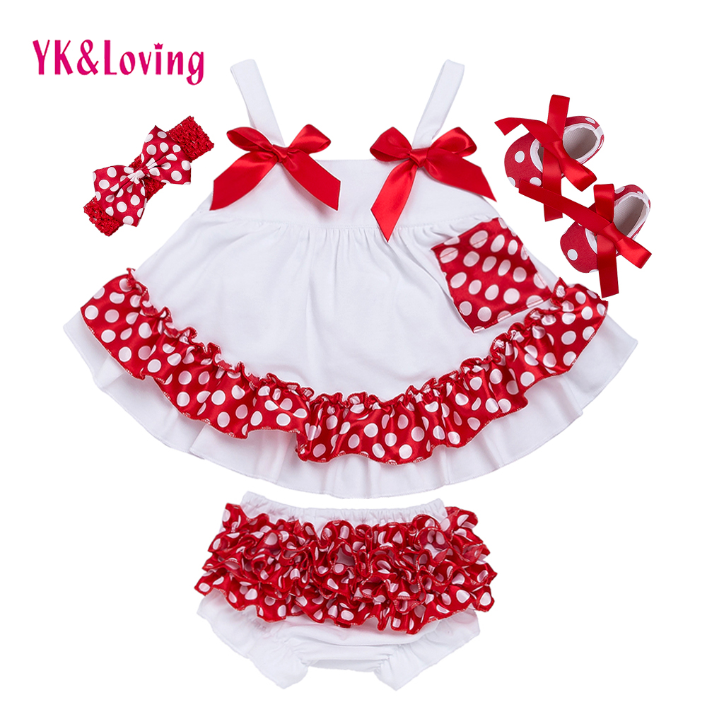 Fashion Baby Girls Swing Top Set Polka Dot Swing Ruffled Outfits With Matching Bloomer Headband Sets Girl Clothing Infant X006 polka dot wrap cami top