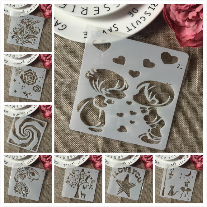 8Pcs/Set 13cm Children Cat Flower DIY Layering Stencils Painting Scrapbook Coloring Embossing Album Decorative Card Template