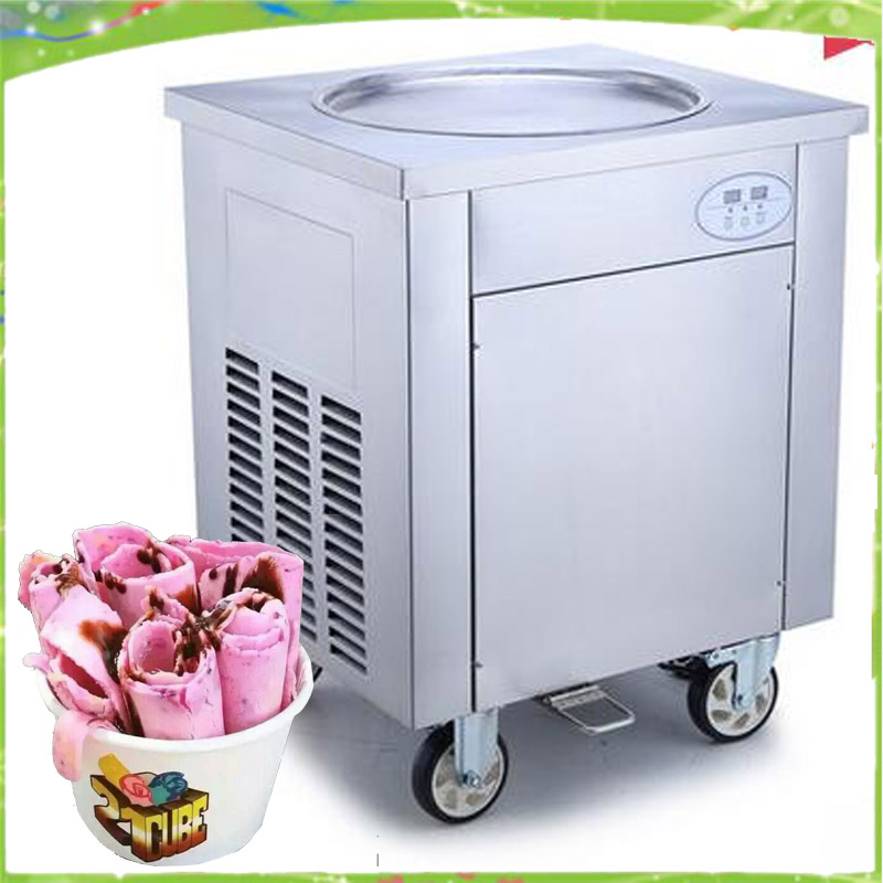 Free shipping big pan rolled fried ice cream machine single round  pan thailand ice roll machine ice cream maker free shipping big pan 50cm round pan roll machine automatic fried ice cream rolling rolled machine frying soft ice cream make