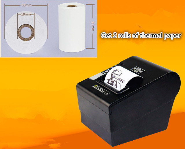 2 rolls of thermal paper+80mm thermal printer receipt Small ticket barcode printer A-80USH automatic cutting USB Ethernet port