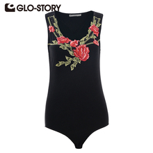GLO-STORY 2017 Women Embroidered Bodysuit Sexy Floral Jumpsuit with Bottom Snaps Summer Skinng Tee Shirt Tops 5676