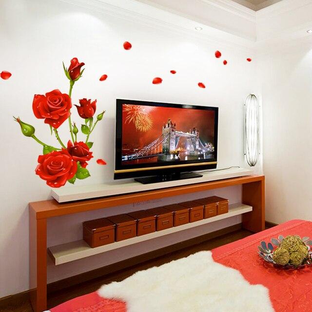 Dicor Nouveau Européenne Romantique Rouge Rose Wall Sticker Fond Mur Décor  De Mariage Pour Salon Chambre