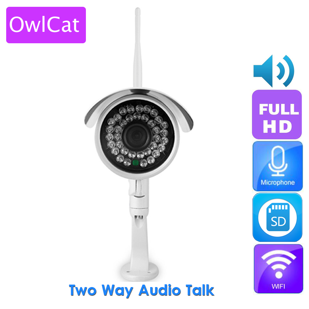 OwlCat Aluminum Outdoor Bullet IP Camera Waterproof HD 1080P Security CCTV Camera Two Way Audio Talk SD Card IR ONVIF Phone View wistino cctv camera metal housing outdoor use waterproof bullet casing for ip camera hot sale white color cover case