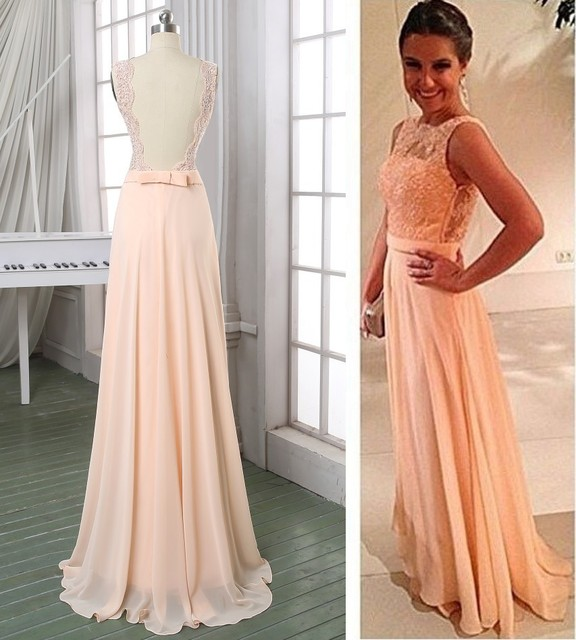 c856078985c 11Elegant A Line Formal Dresses Backless Lace Bodice Open Back Chiffon Evening  Dress Champagne Prom Dress Long Prom Gowns
