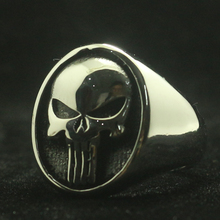 Size 7 To Size 15 Mens Boys 316L Stainless Steel Cool The Punisher Ring