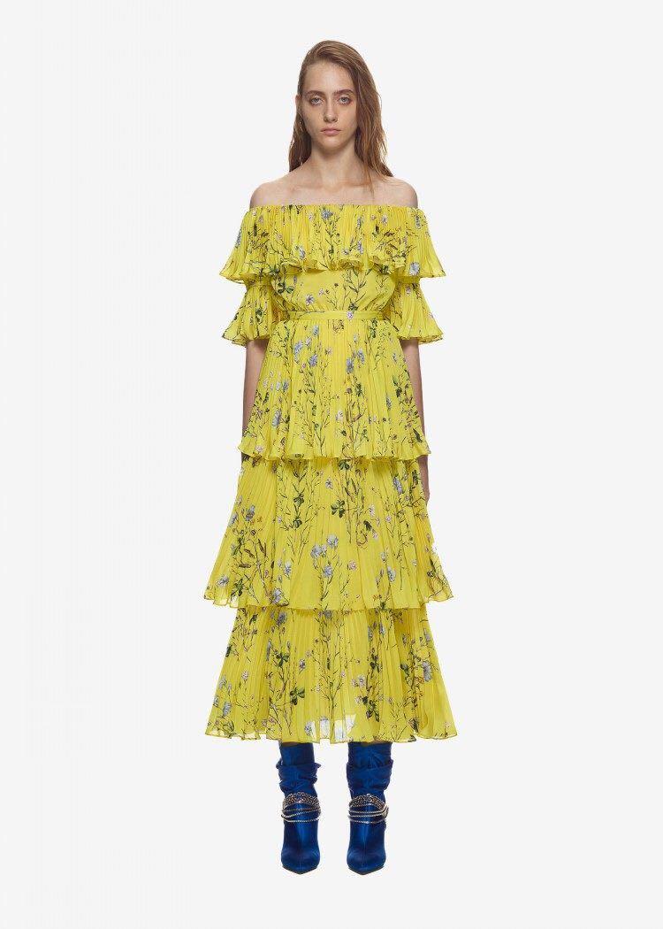 Self Portrait Summer Boho Beach Pleated Long Dress 2018 Runway Women ...