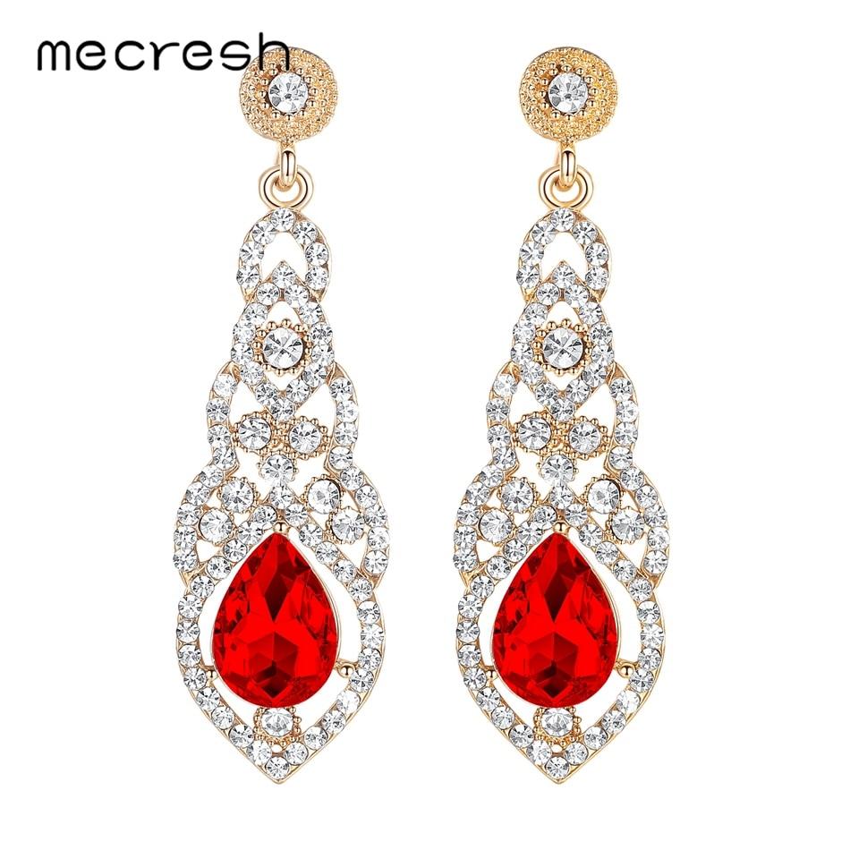 Mecresh Kristal Pernikahan Earrings untuk Wanita Lucu Warna Silver - Perhiasan fashion - Foto 4
