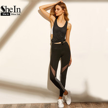 SheIn Women Casual Leggings Fitness Winter Leggings New Arrival Ladies Plain Elastic Waist Color Block Mesh Insert Leggings