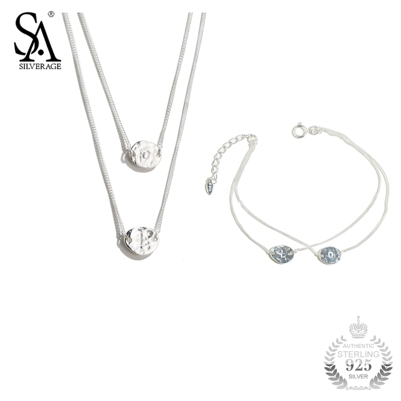 SA SILVERAGE 925 Set Necklace And Bracelet Set For Women Pure Silver Sterling Jewelry S925 Girl Best Gift sa silverage 925 sterling silver anklets for women sexy anklets jewelry luxury pure silver 925 jewelry accessory girl gift