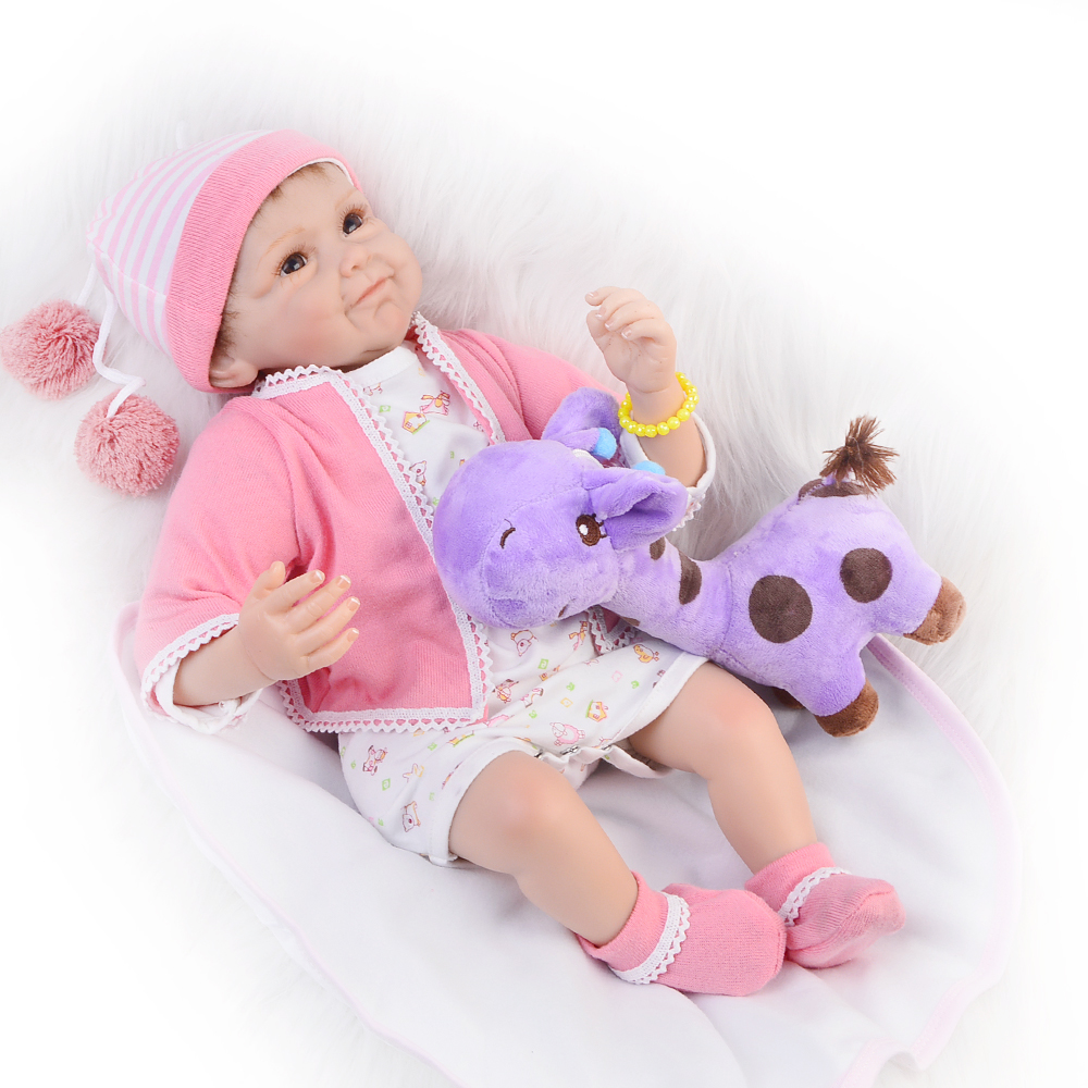 22 Inch Newborn Doll Silicone Vinyl Babies Toy For Girls 55 CM Realista Soft Reborn Baby Dolls Cloth Body For Children Gifts 18 inch dolls handmade bjd doll reborn babies toys for children 45cm jointed plastic toy dolls for girls birthday gifts juguetes