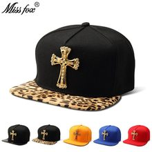 Missfox Hip Hop Gold Cross Men Hat Cz Stones Stud Religion Hats Caps Men Flat Brim Black Crocodile Pattern Hip Hop Caps(China)
