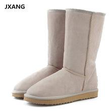2a3ad37a6 Botas de nieve de marca JXANG de alta calidad para mujer de moda de cuero  genuino Australia clásico botas altas de Invierno para.