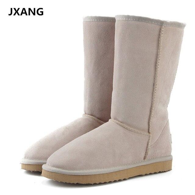 JXANG Yüksek Kaliteli Marka Kar Botları Kadın Moda Hakiki Deri Avustralya Klasik kadın Yüksek Çizme Kış Kadın kar ayakkabıları
