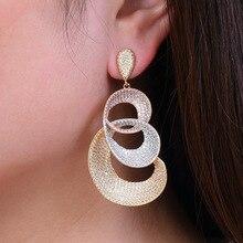 GODKI 68mm Flower Luxury Full Micro Cubic Zirconia Naija Engagement Party African Dress Earring Fashion Jewelry Women