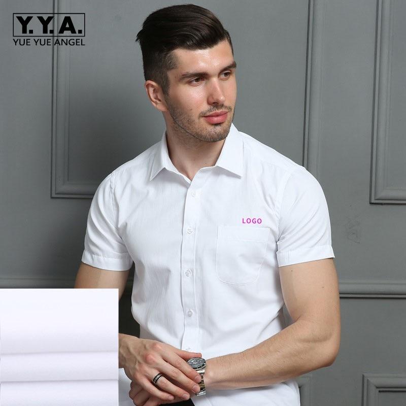 Unisex Short Sleeve Social Office Uniform Shirts Men ...