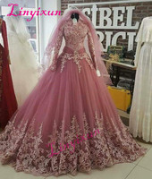 Vintage Vestido De Noiva 2018 Muslim Wedding Dresses Ball Gown Long Sleeve Lace Turkey Dubai Arabic Wedding Gown Bridal Dresses