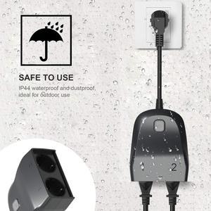 Image 4 - Lonsonho Tuya Wifi חכם שקע האיחוד האירופי Plug חיצוני עמיד למים IP44 2 חנויות אלחוטי שלט רחוק עובד עם Alexa Google בית