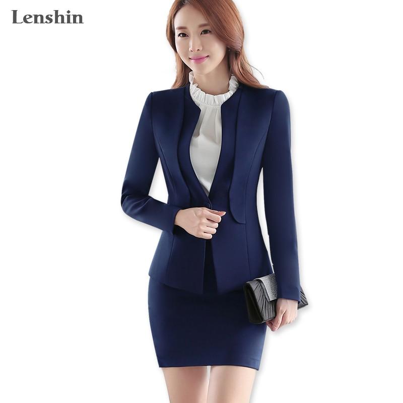 Lenshin 2 Pieces Set Fashion Women Blue skirt suits career Office Lady blazer skirt coat Jacket
