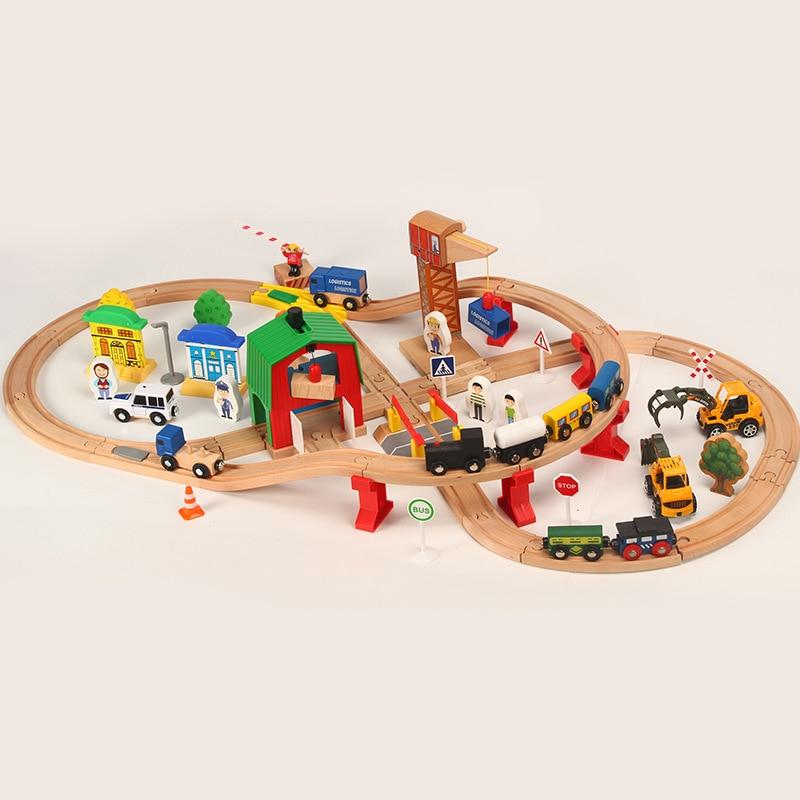 Train en bois Piste Ensemble Enfants En Bois ferroviaire Puzzle Slot Transit Bois Thoman Pistes Rail Transit Train ferroviaire Jouets Pour Enfants