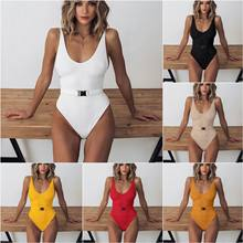 Sexy swimwear women 2019 one-piece swimsuit solid special cloth belt buckle one-piece bikini swimwear maillot de bain femme(China)