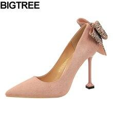 69c4357d5 BIGTREE Excelentes Mulheres Bombas Rhinestone Cristal Voltar Bowknot sapatos  de Salto Alto Sapatos de Casamento Da