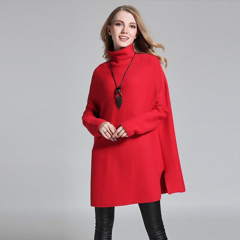 Hiver rouge Mode Casual De Tops La Femmes Taille Vintage Vêtements Chandails Noir 2017 Long bourgogne Boho Col vert Top Plus gris Pulls Roulé Chandail Automne axg6E