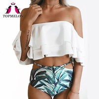 TOPMELON Swimwear Women Sexy Bikini Swimsuit High Waist Push Up Plus Size Falbala Bodysuit Bathing Suit
