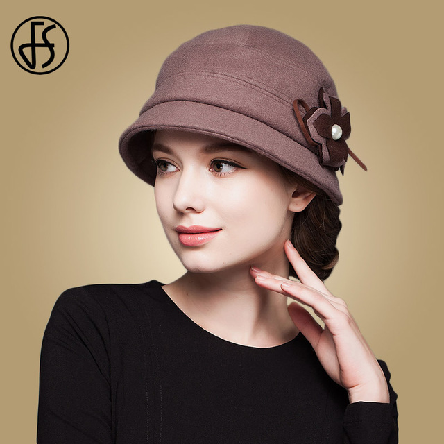 a7ad47b85d1 FS Fashion Autumn Winter Women Elegant Thicken Wool Hats With Flowers  Elegant Bowler Warm Cap Female Casual Lady Fedoras Hats
