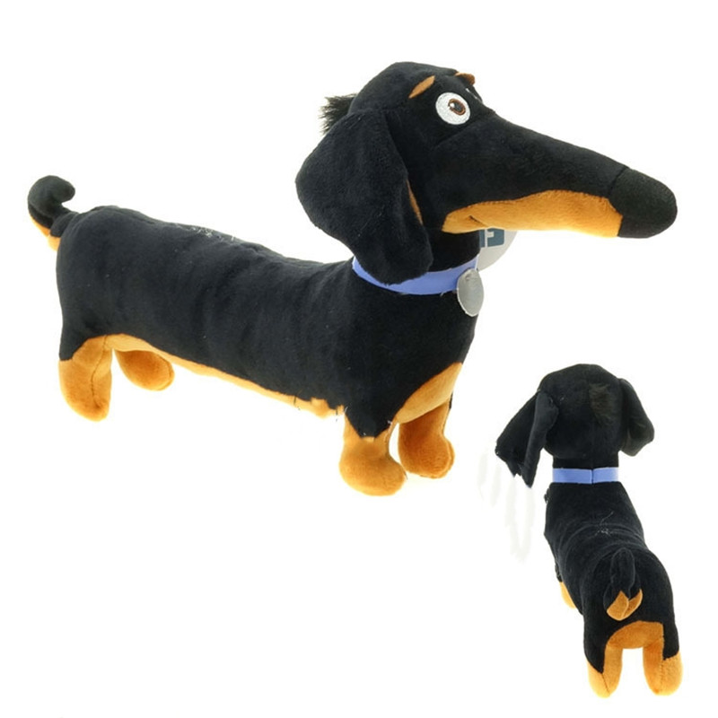 New Hot Toy Cartoon Dachshund Plush Black Sausage Buddy dog Toy Holiday Birthday Party Gifts for Kids 30*16 cm pet shop toys dachshund 932 bronw sausage dog star pink eyes
