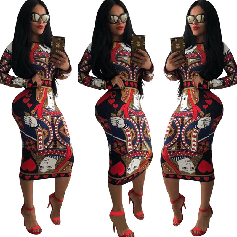 Multicolor Print Novelty Long Sleeve Bodycon Dress Women Clothes 2018 Knee length Pencil Midi Dress Vintage Casual Party Dresses in Dresses from Women 39 s Clothing