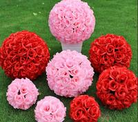 lastest new fashion leafless 50cm(19.6inch) Romantic Simulation Rose kissing ball artificial silk flower for wedding party decor