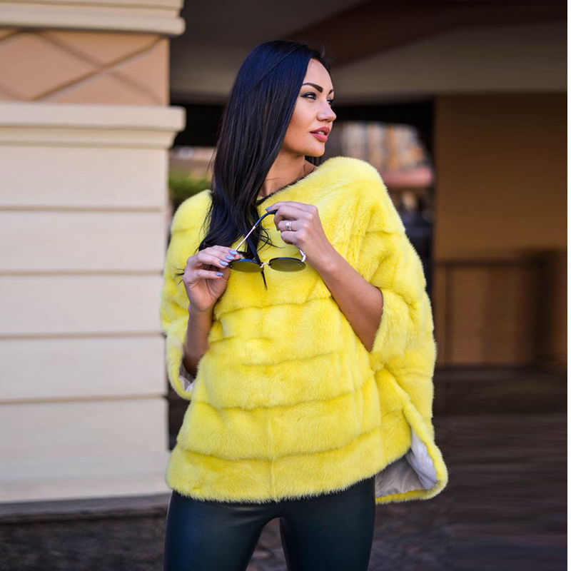 FURSARCAR 2018 New Real Mink Fur Shawls Luxury Women Winter Warm Jacket Fashion Natural Coat