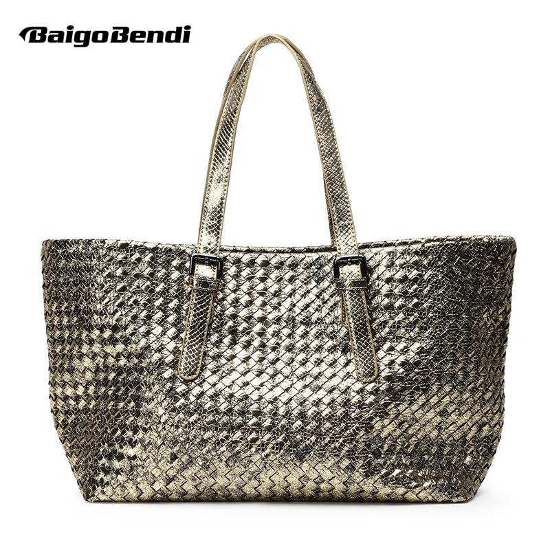 цены на Brand New Shinning Gold Woven Leather Handbag Cross Stitch Hobo Women's Serpentine Knitting Bag Large Casual Tote в интернет-магазинах