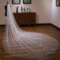 Sapphire Bridal Champagne 4m Long sequins Cathedral Wedding Veil 2019 Velo De Novia 1 Tier Cut edge Bridal Veil with Comb