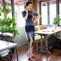 New Arrival Fashion Chinese Style Mandarin Collar Dress Women's Lace Long Cheongsam Elegant Slim Qipao Size S TO XXXL F060113