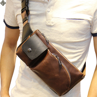 Hot 2016 New Arrival Fashion Leather Men Messenger Bags High Quality Casual Small Chest Packs Vintage