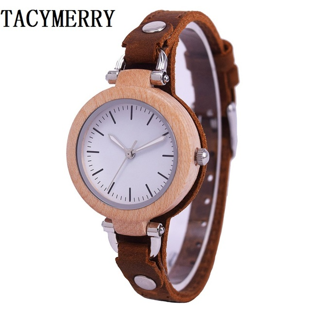 Simple Maple Wood Watch For Women With Genuine Leather Strap Fashion Chrismas Gifts Wife In
