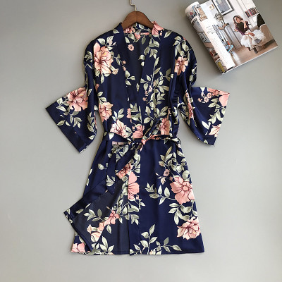 Image 4 - Two Piece Women's Pajamas Silk Dress And Robe Gown Set Floral Bathrobe Lingerie Femme Sexy Nightdress Kimono Sleepwear Home Suit-in Robe & Gown Sets from Underwear & Sleepwears