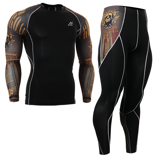 2016 gold skulls Print men Fitness Yoga Set Sportwear For Fitness Clothing suits Yoga Sp ...