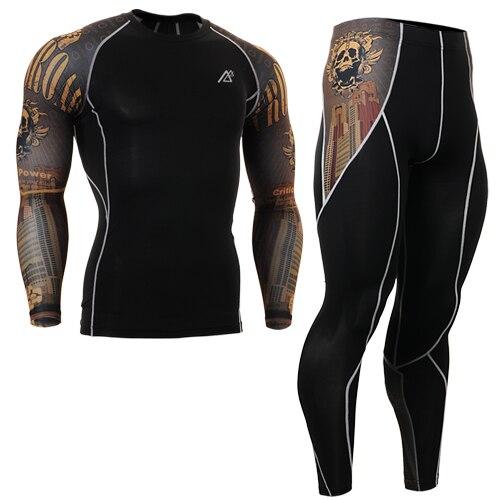 2016 gold skulls Print men Fitness Yoga Set Sportwear For Fitness Clothing suits Yoga Spandex Workout Clothes sets цены онлайн