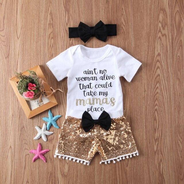 New Fashion Newborn Baby Girl Boy Clothes Set Sequins 3pcs Outfits Romper Top Pants Headband Clothes Set Jumpsuit 1