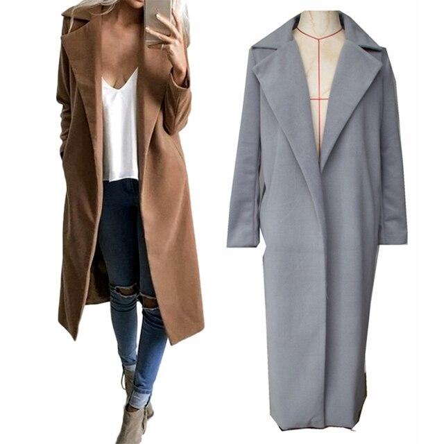 Зимние куртки 2017 женщин полушерстяные пальто широкий отворот Карманный Завышение длинный Тренч пальто Верхняя одежда Шерстяное пальто женские пальто
