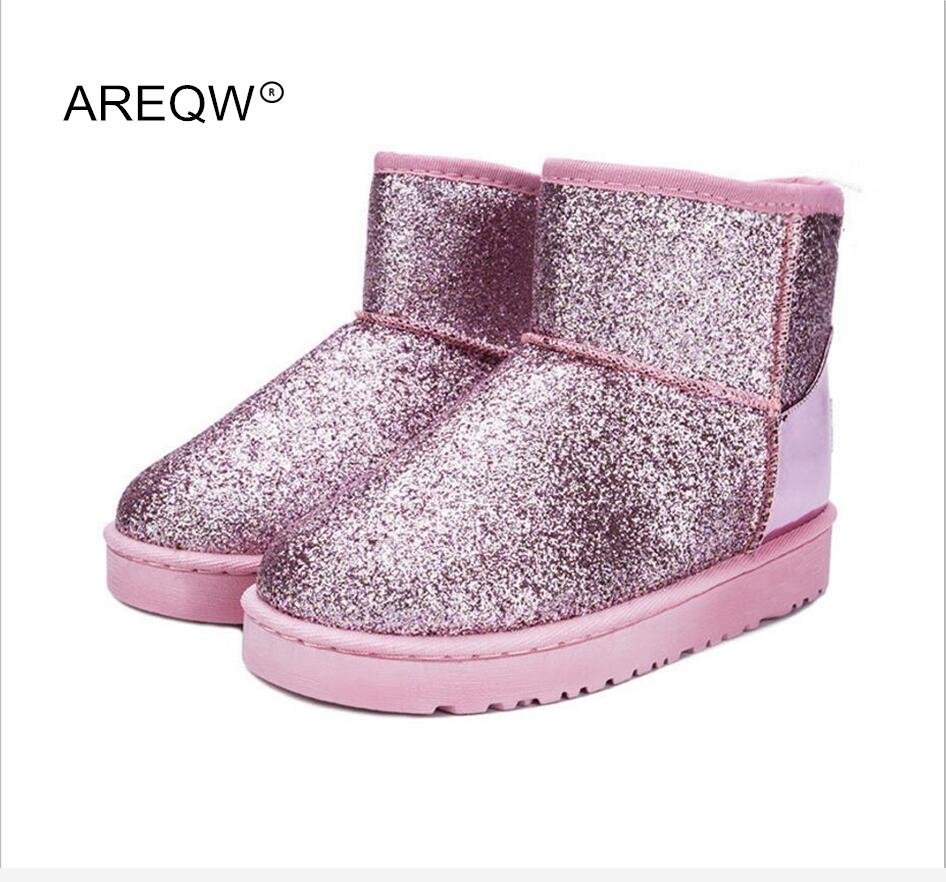 AREQW 2017 new winter snow boots sequins classic women short boots fashion womens shoes  ...